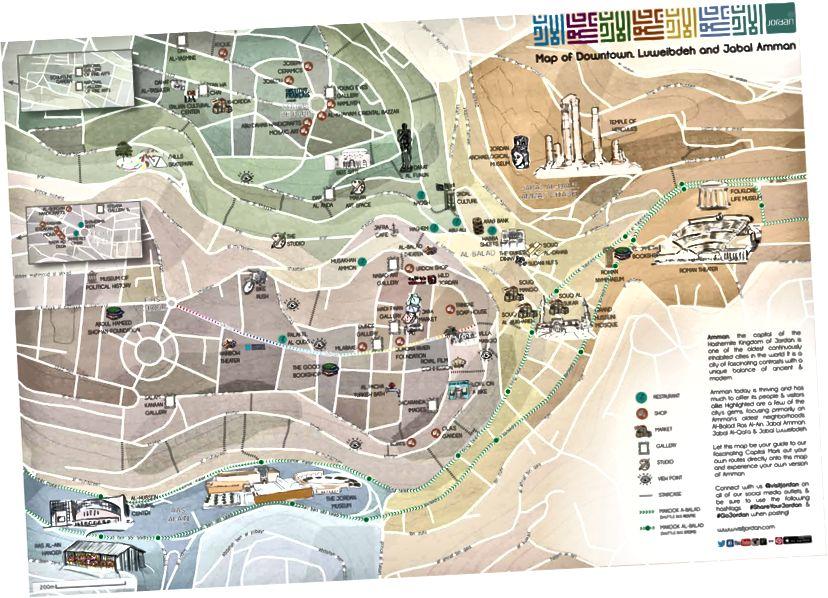 Карта города Амман, выполненная Танией Джордж Хаддад | www.visitjordan.com