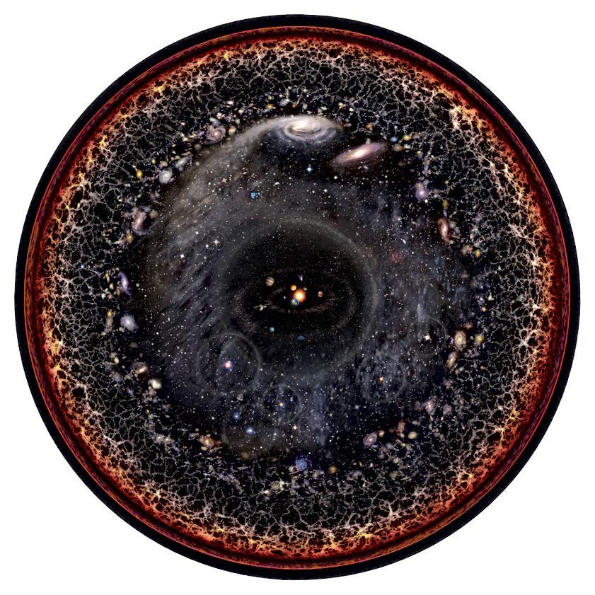 Das (beobachtbare) Universum in seiner herrlichen Schönheit. Diese Darstellung ist ein wissenschaftliches Kunstwerk von Pablo Carlos Budassi
