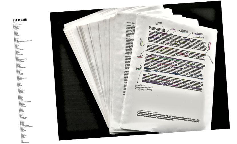 Theուցադրության մեջ ներառված 111 ITEMS- ի նախնական հետազոտական գործընթացը: