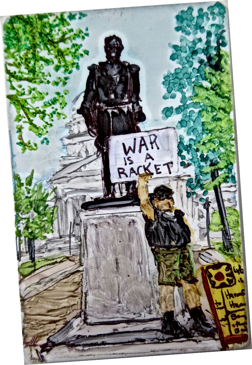 Veteranlar Madison WI dövlət binasının qarşısında etiraz edirlər - Susan diRende tərəfindən Miniatür bir illik bir hissə © 2015