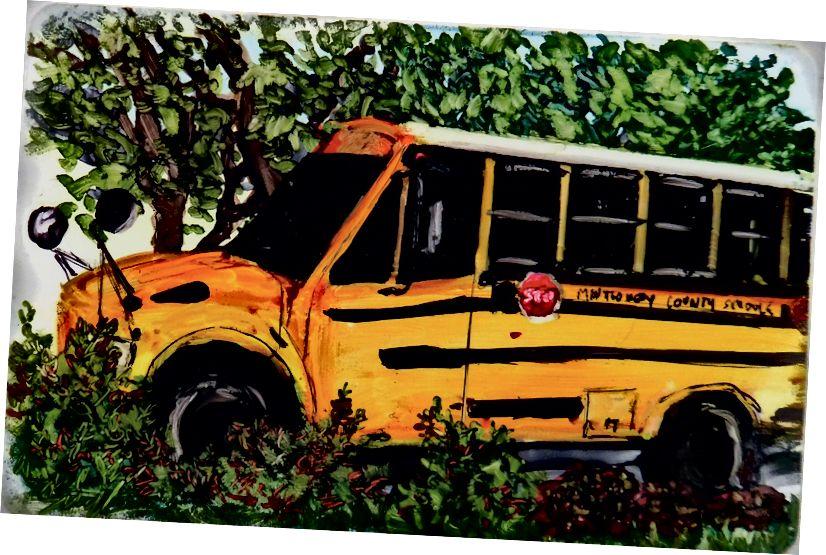 Դպրոցական ավտոբուսը պարապում է. Մանրանկարչությունում A Year- ի մի մասը ՝ Susan diRende © 2015
