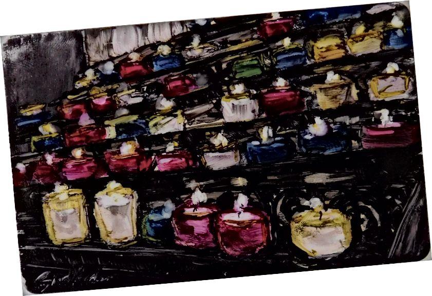 Կենսունակ մոմեր Սուրբ Germain des Près- ում `մանրանկարչության մեջ մեկ տարվա մի մասն ՝ Susan diRende © 2015