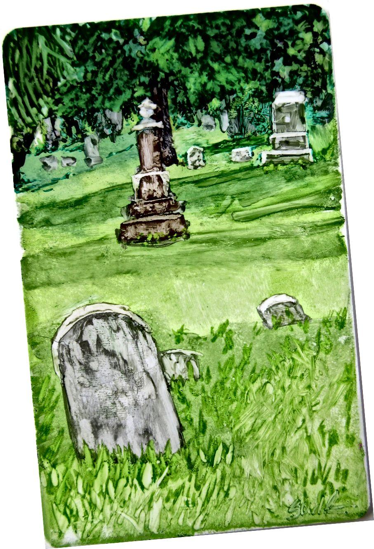 Whitewater WI գերեզմանատան - մանրանկարչության մեջ մեկ տարվա մի մասը ՝ Սյուզան դի Ռենդեի կողմից © 2015
