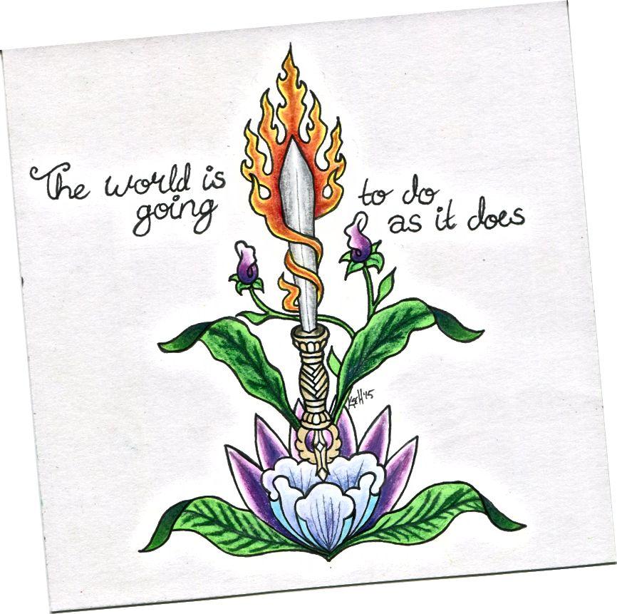Իմ վաղեմի կտորներից մեկը, որն ավարտվել է 2015-ին, պատկերում է «Մանջջրիի թուրը» տեքստով. «Աշխարհը պատրաստվում է անել այնպես, ինչպես անում է»
