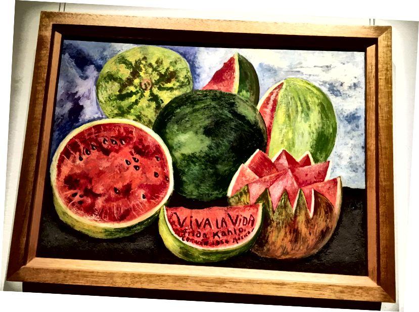 """""""VIVA LA VIDA - Coyoacán 1954 Mexiko"""". Poslední malba Fridy Kahlo."""
