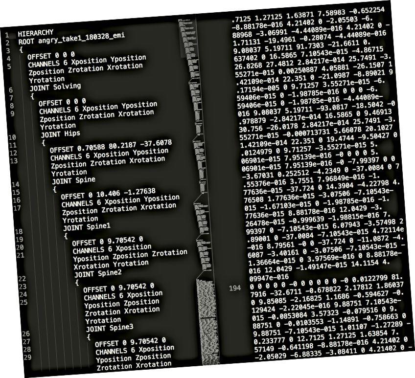 Məsələn solda skelet quruluşu ilə BVH faylı və sağdakı məlumat çərçivələri. Bir nümunə BVH faylı üçün buraya baxın. [Təsvirin təsviri: