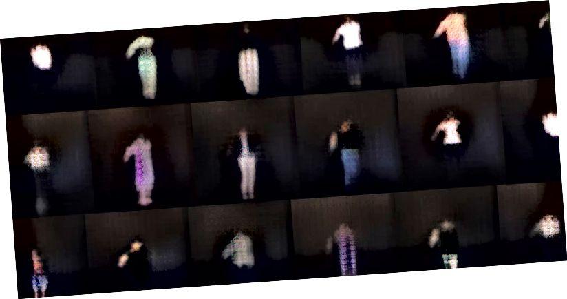 Pix2pixHD istifadə tamaşaçı video əsasında yaradılan şəkillər. [Təsvir təsviri: Bəzi aydın ayaqları, gödəkçələri, qolları, başları və orta parlaqlıq ərazilərində çox ölçülü sabit naxış səs-küyü olan qara bir fonda bulanık insan şəkli şəkillərinin görüntüləri.]