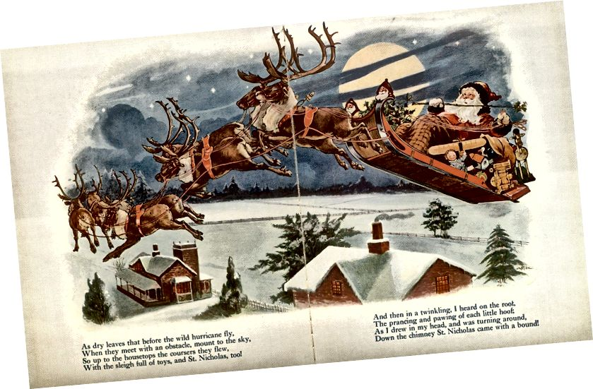 Illustration aus Clement Clarke Moores 'Twas The Night Before Christmas, circa Anfang des 20. Jahrhunderts