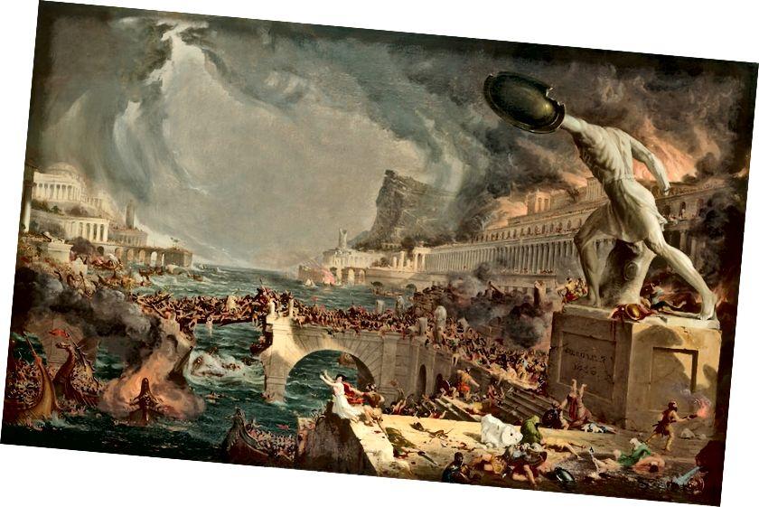 Thomas Cole. The Course of Empire: Destruction, 1836 | Newyorská historická společnost, dar newyorské galerie umění (1858.4). Digitální obraz vytvořený Oppenheimer Editions