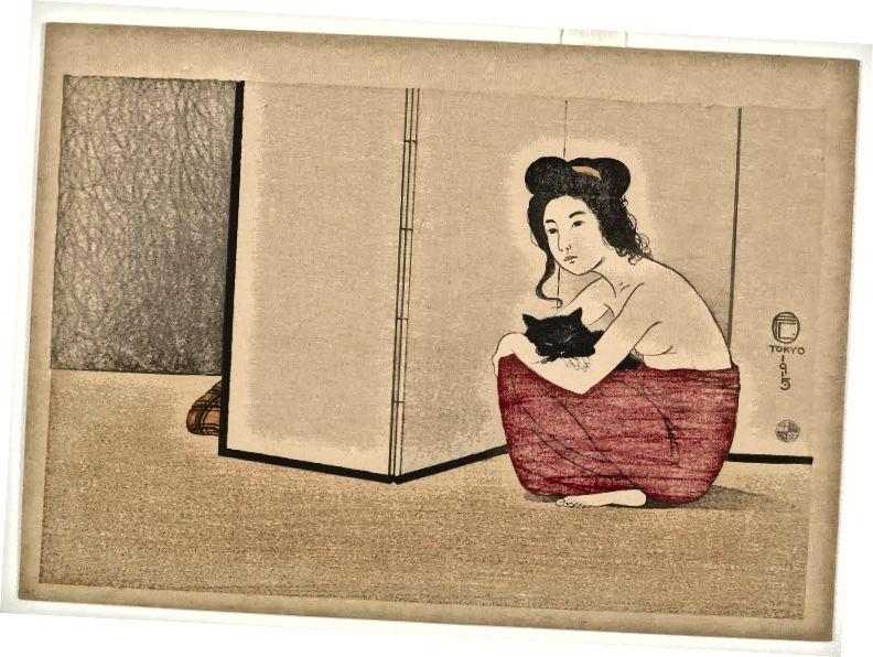 Nackte Frau mit einer schwarzen Katze, Fritz Capellari (1915). [Quelle: Sammlung Robert O. Muller]