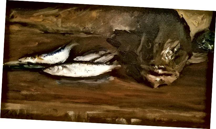 Zátiší, treska a makrela, c 1900 William Merritt Chase (Američan, 1849–1916) o c; Sbírka JKM