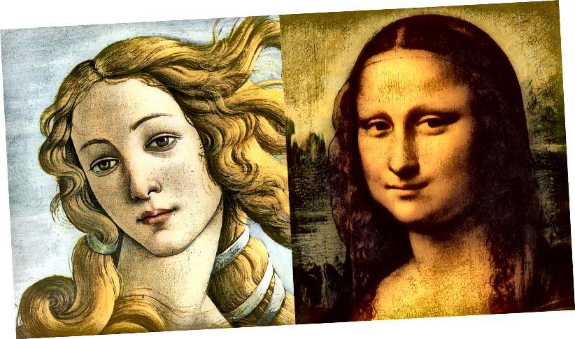 Отляво: Раждането на Венера (1485 г.) от Ботичели; дясна страна: Мона Лиза (1503 г.) от Леонардо да Винчи.