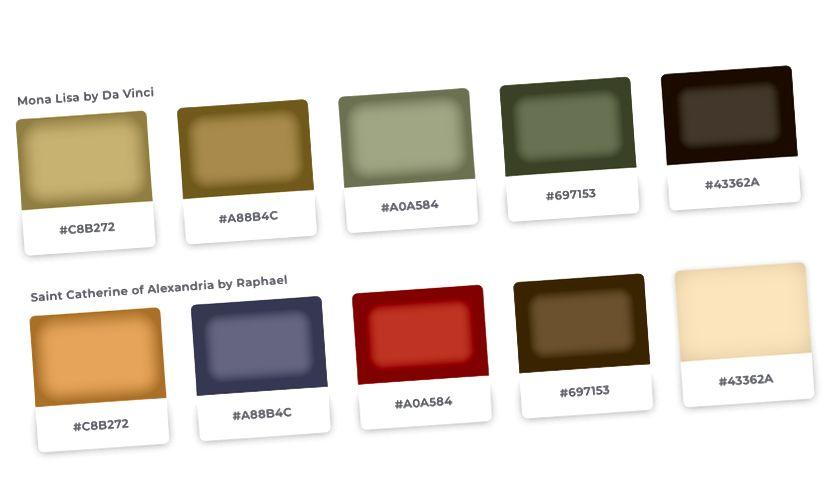 Разгледайте цветовете на всяка картина отделно и проверете как цветовата палитра на Рафаел е по-наситена от тази на Да Винчи.