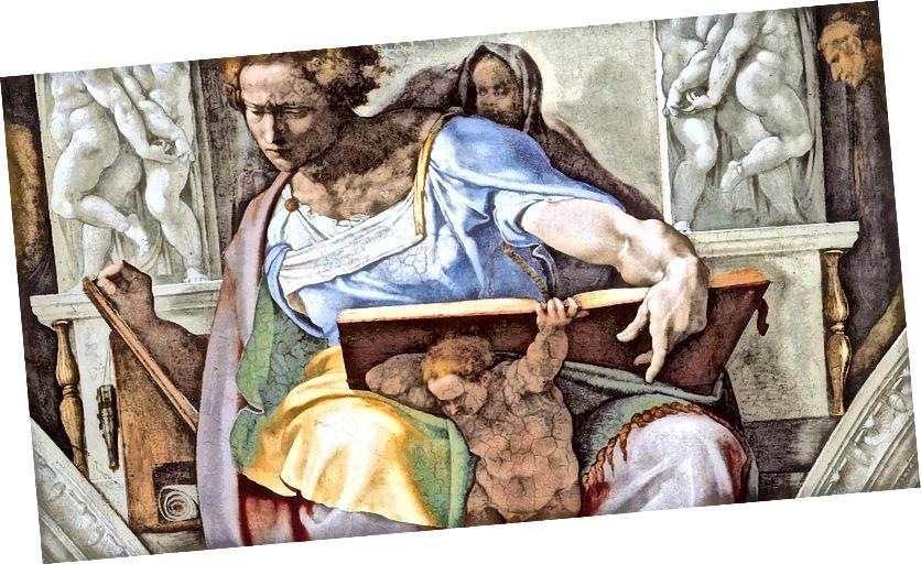 Пророк Даниил - Сикстинската капела (около 1508–1512 г.) от Микеланджело.