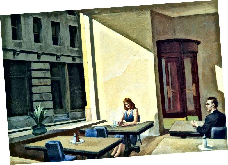Слънчева светлина в кафене, 1958 г., © Едуард Хопър, Честна употреба