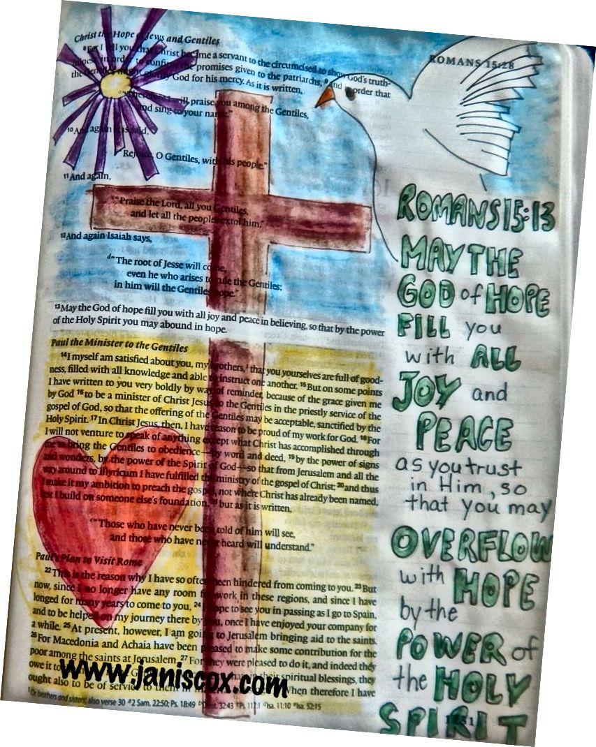 Bibelkunst von Janis Cox Römer 15:13