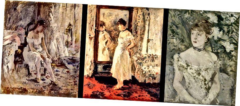 Jeune fille mettant son bas, 1880, La psyché, 1876, Jeune femme en toilette de bal, 187