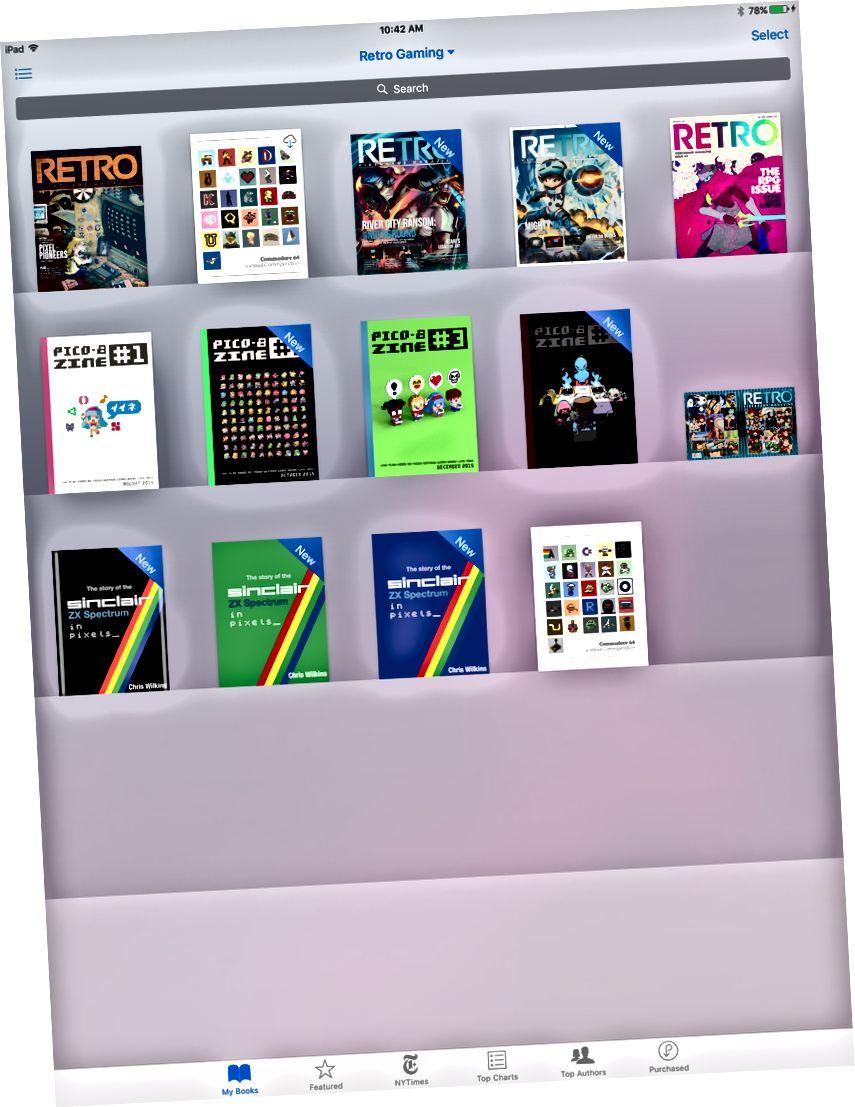 Moje kolekce Kindle (vlevo) a moje knihovna Retro Gaming v iBooks (vpravo). Mám spoustu dalších polic.