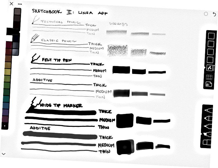Rozsah nástrojů v papíru a Linea.