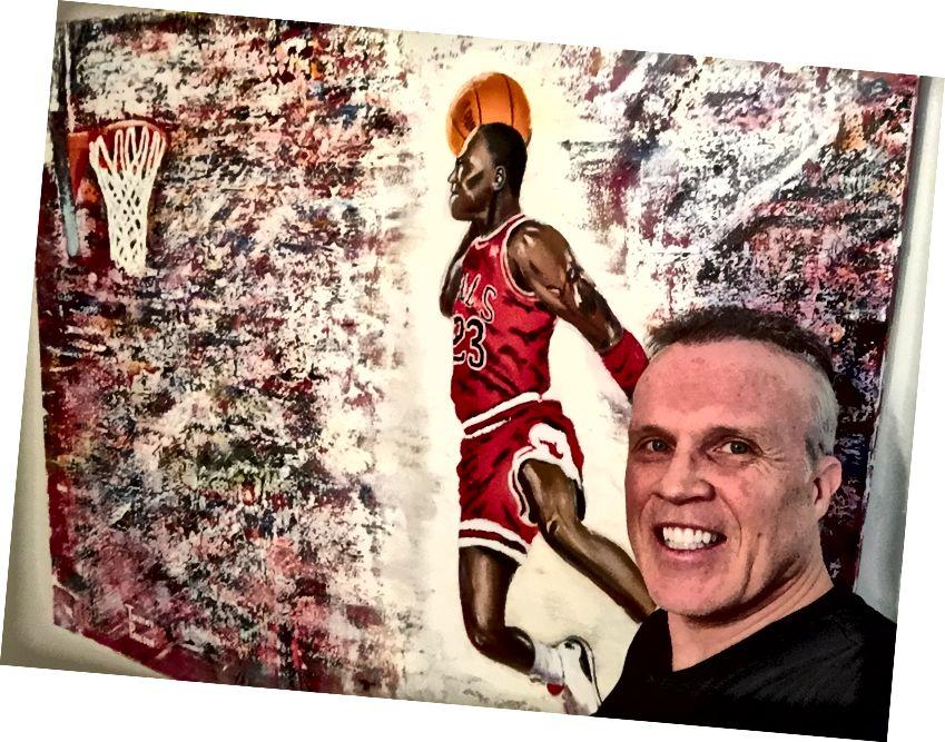 Der Künstler Timothy Paulson mit seinem Gemälde