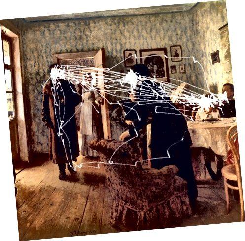 Alfred L. Yarbus, Göz Hərəkətləri və Görmə, 1967. Http://www.cabinetmagazine.org/issues/30/archibald.php-dən çox rəngli rəngli şəkillər.