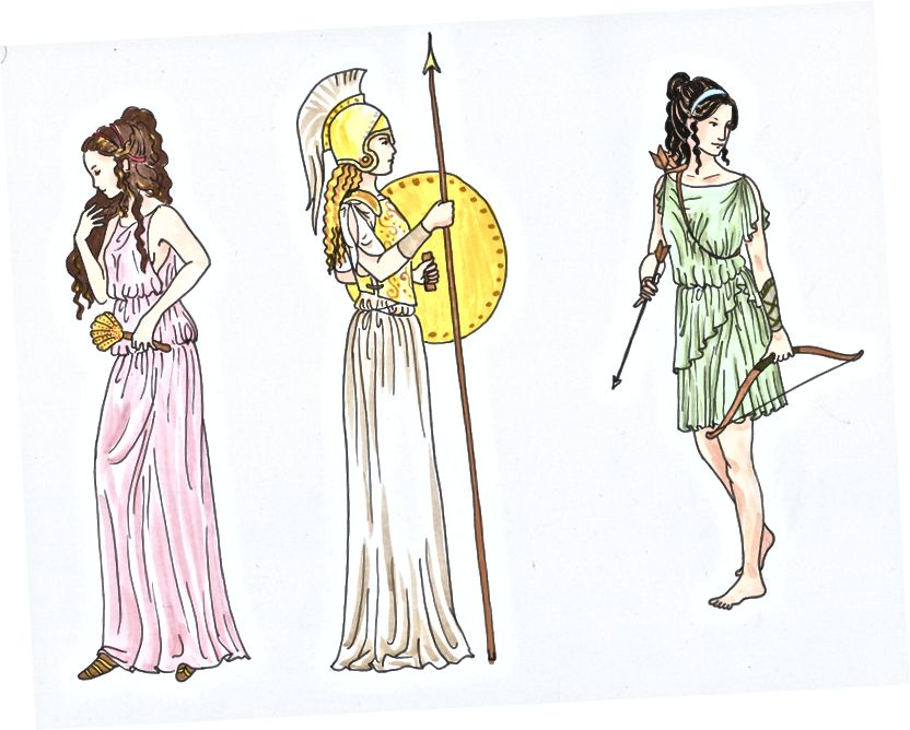 Die drei jungfräulichen Göttinnen: Hestia, Athena und Artemis. Verdienst des talentierten Künstlers 455992