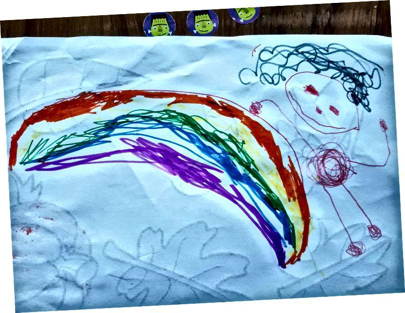 Verträumter Marker, der meine 4-jährige Zeichnung von mir, ihrer Mutter, zeichnete.