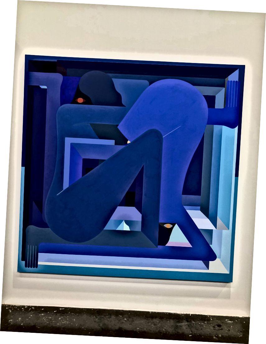 ডান থেকে বাম: রিচার্ড কলম্যানের এলএ পেইন্টিং (লাল) এবং নীল চিত্র। আমার দ্বারা ফটো।