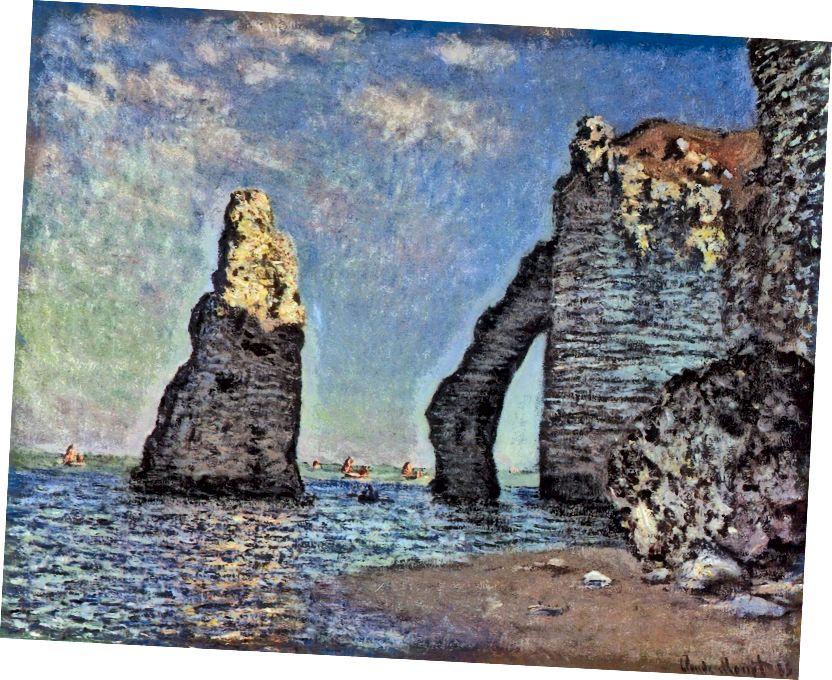 Nejmodernější krajinomalba: Monetovy útesy v Étretatu (1885).