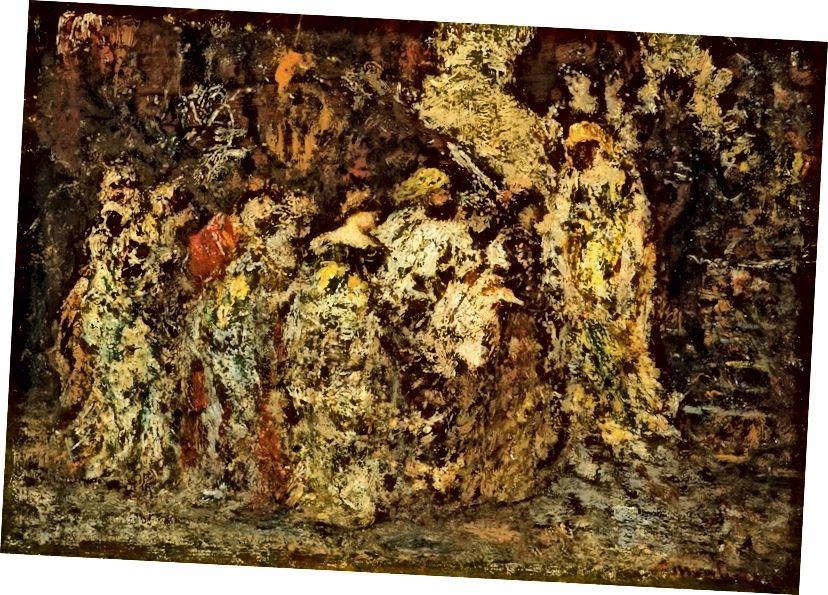"Zlatý šelest (detail ""A Garden Fete"")."