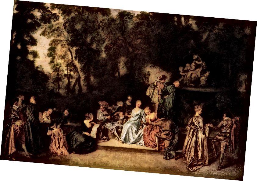 Antoine Watteau, Párty pod širým nebem, 1717–1718.