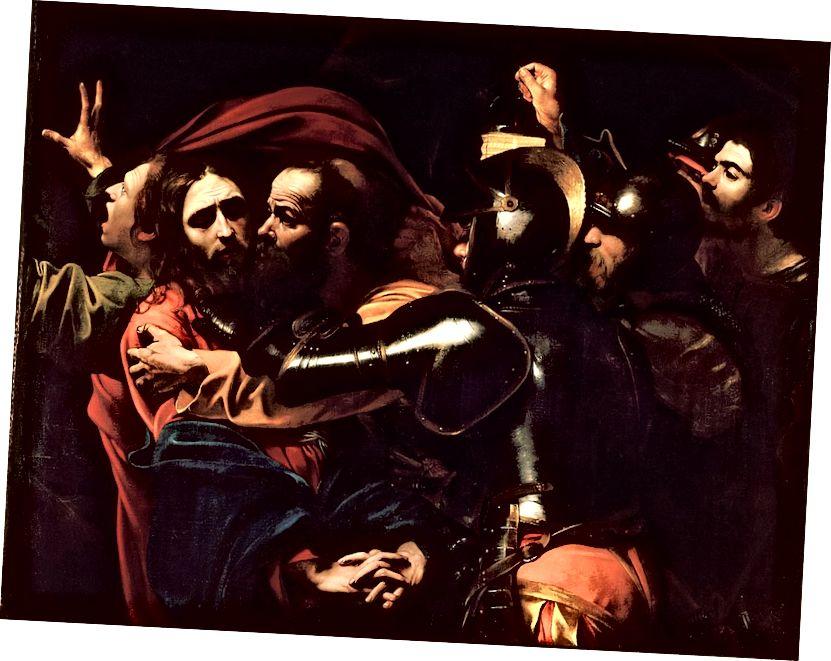 """Staromódní El Greco: Parmigianino """"Madona s dlouhým krkem"""" (1535–1540), El Greco """"Otevření páté pečeti"""" (1608–1614) a Caravaggioovo """"Přijetí Krista"""" (c. 1602) ."""
