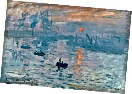 """Staromódní Monticelli: Watteauova """"Párty pod širým nebem"""" (1717–1718), Monticelliho """"Zahradní slavnost"""" (c. 1870–72), Monetův """"dojem, východ slunce"""" (1872)."""