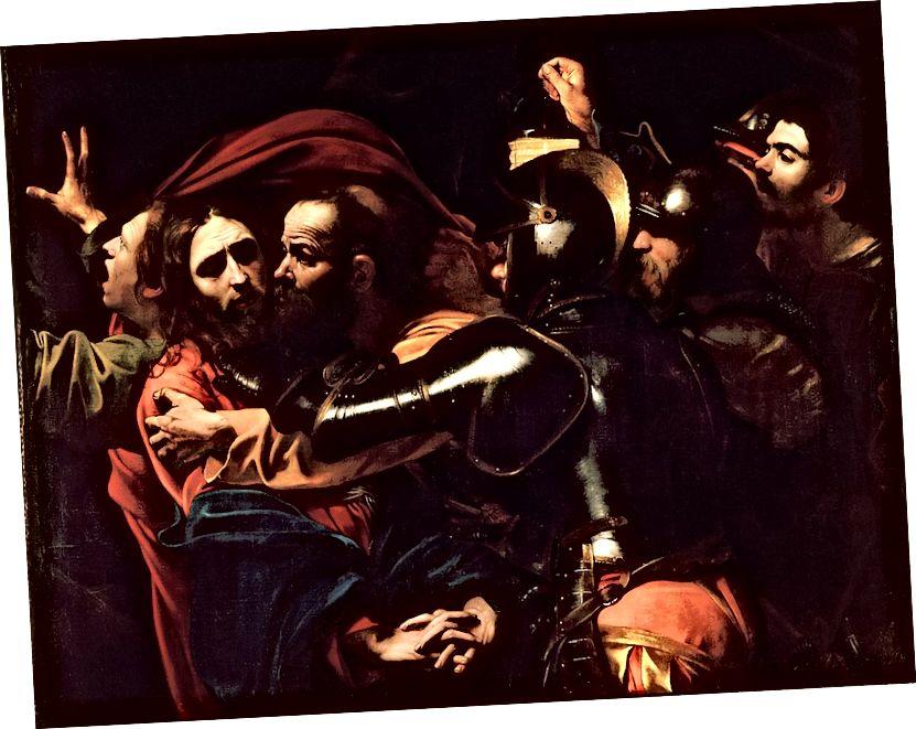 "Vizionář El Greco: Picasso ""Les Demoiselles d'Avignon"" (1907), El Greco ""Otevření páté pečeti"" (1608–1614) a Caravaggiovi ""Přijetí Krista"" (c. 1602)."