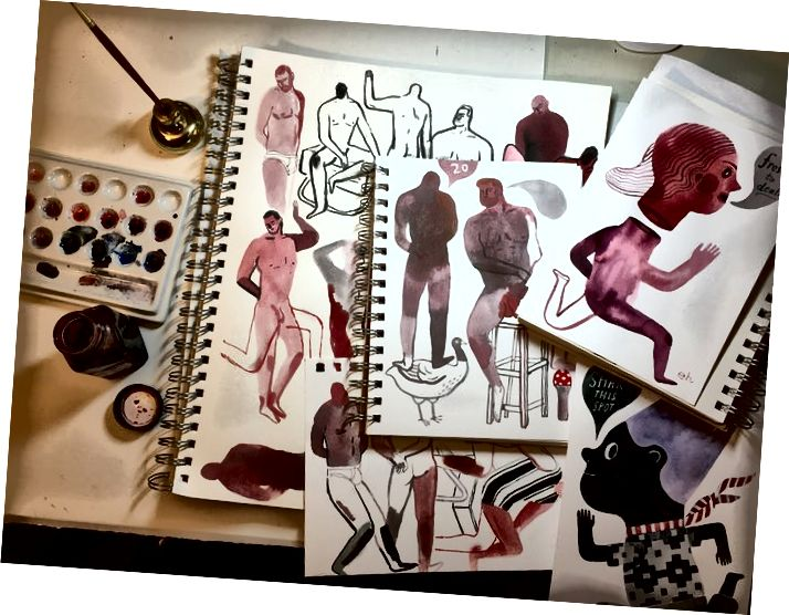 Ilustrátor Elizabeth Haidle sdílela fotografii svého stolu po relaci kreslení.