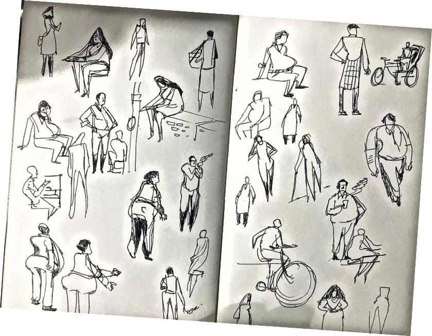 Eine Seite aus dem Skizzenbuch eines Teilnehmers
