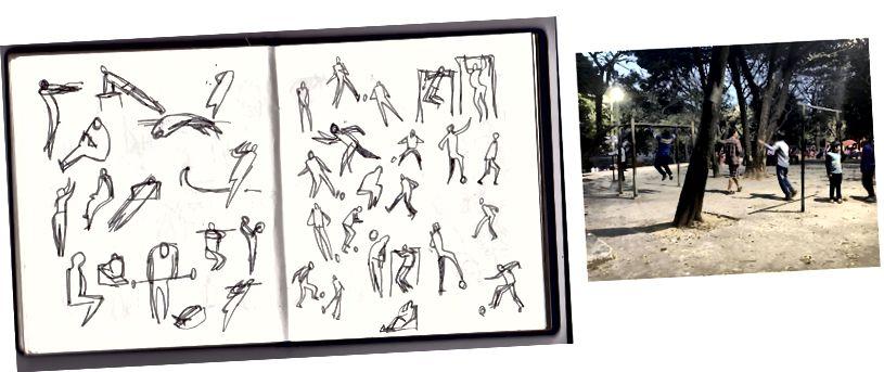 Gestenzeichnung in einem Park.