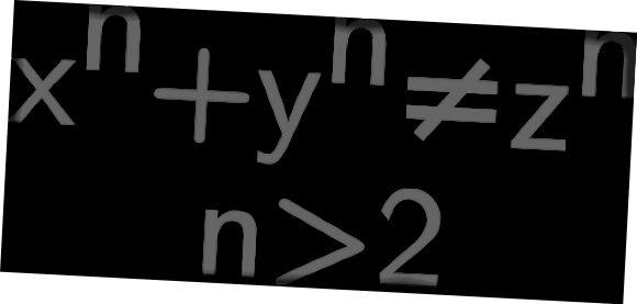 x ^ n + y ^ n = z ^ n má pouze celočíselná řešení pro n menší než nebo rovno 2. Podívejte se na článek na Wikipedii, abyste viděli, jak šílený důkaz byl (a od této doby získal Andrew Wiles Abelovu cenu) 2016). https://en.wikipedia.org/wiki/Wiles%27s_proof_of_Fermat%27s_Last_Theorem