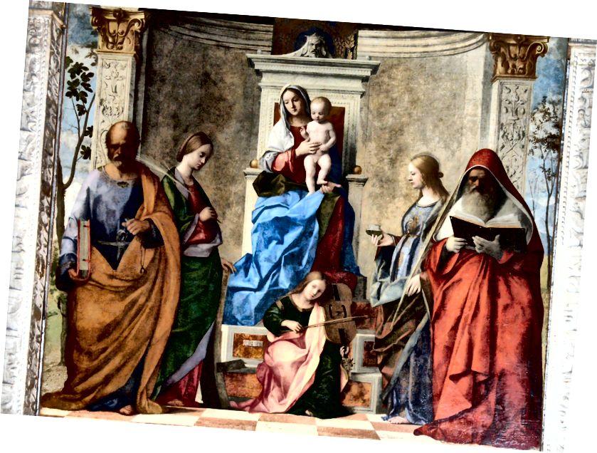 ジョバンニベリーニの「サンザッカリア祭壇画」(1505)の詳細(1430〜1516年頃)。 ソースウィキアート