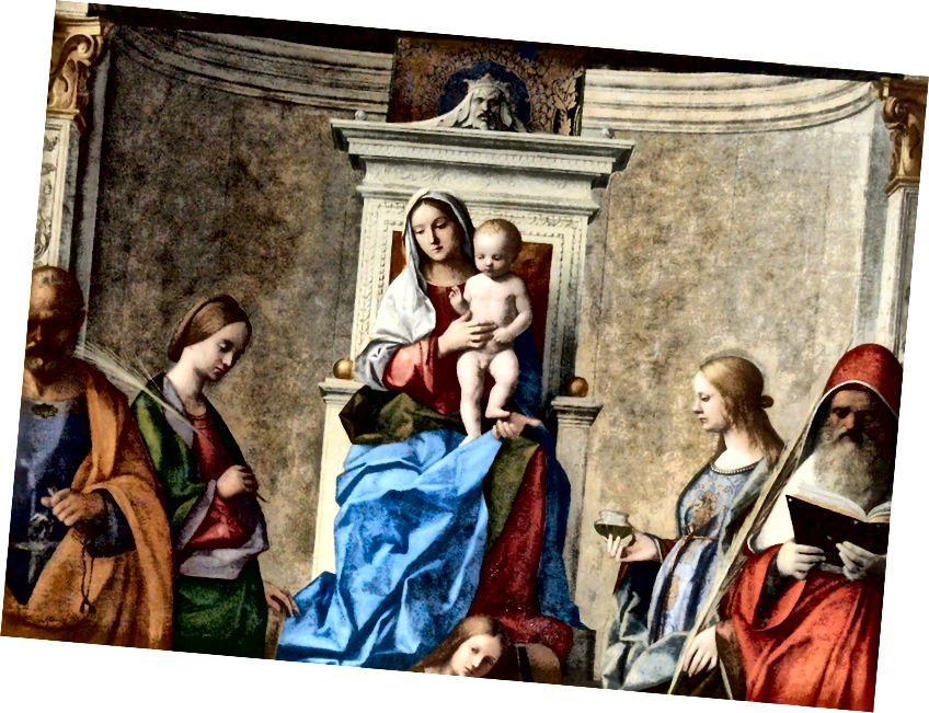 「サンザッカリア祭壇画」の詳細。左から右に、セントピーター、セントキャサリン、クライストチャイルドを抱く聖母マリア、セントルーシー、セントジェローム。 ソースウィキアート