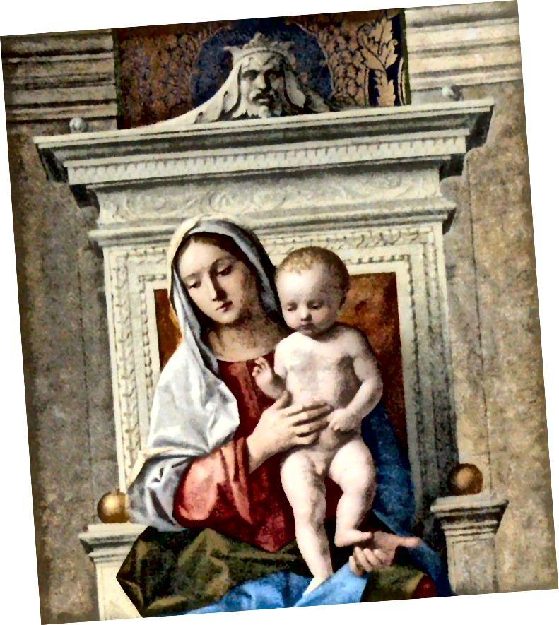 聖母子の玉座にソロモンの彫刻が施された頭。 ソースウィキアート