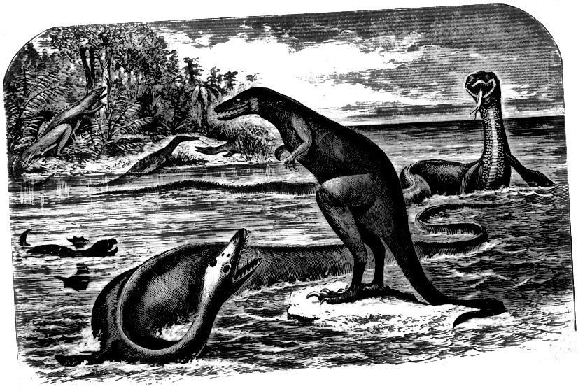 Il·lustració de Dryptosaurus i Elasmosaurus, d'Edward Drinker Cope, 1869