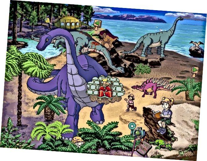L'autobús escolar màgic explora a l'època dels dinosaures, 1996. Si jo fos aquesta noia, estaria més preocupat per l'Allosaurus que devora aquell sauròpode que llegir un llibre.