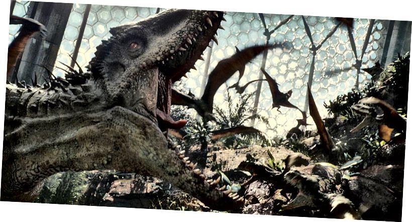 """L'Indominus rex, totalment fictici, del """"Juràssic World""""."""
