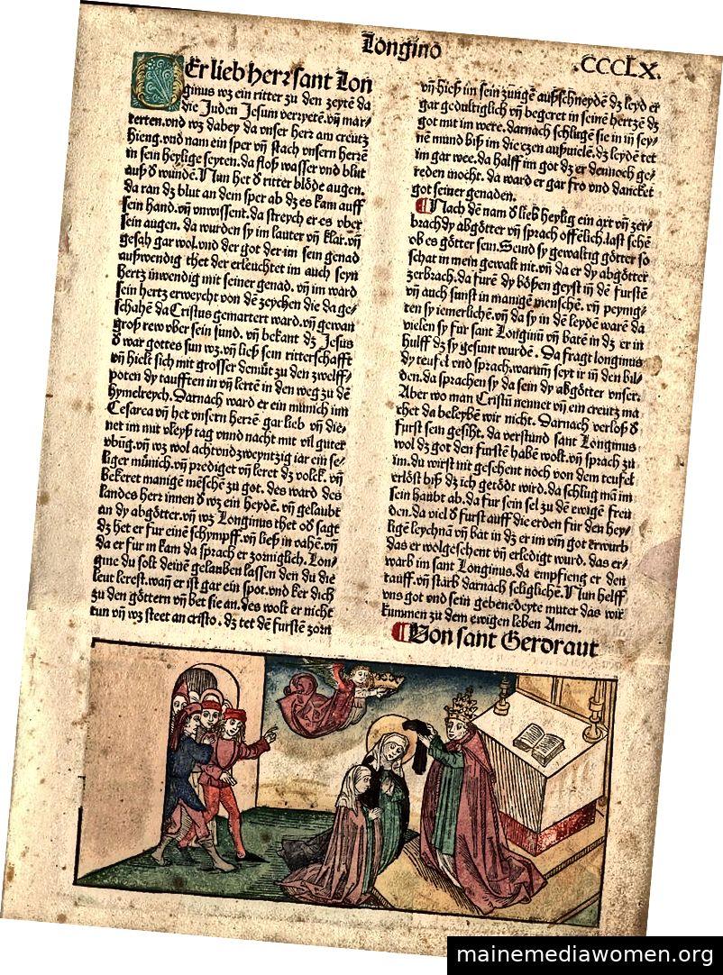 """Folioseite aus """"Die goldene Legende"""" von Jacobus de Voragine (1228–1298). Gedruckt von Anton Koberger, 1488. Freigegeben unter CC BY-SA 3.0"""