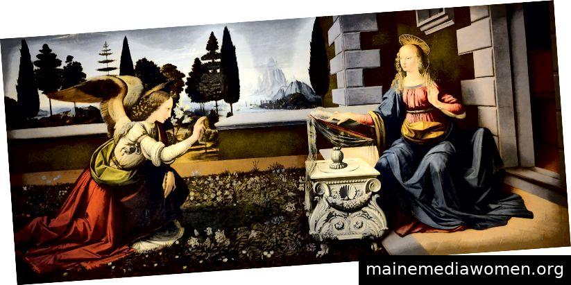 """""""Verkündigung"""" von Leonardo da Vinci (1452–1519). Geteilt unter CC BY-SA 4.0"""