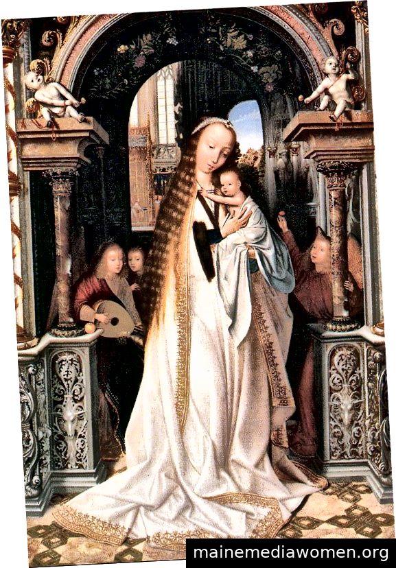 """""""Jungfrau und Kind umgeben von Engeln"""" von Quentin Massys Quell-Wiki-Commons."""