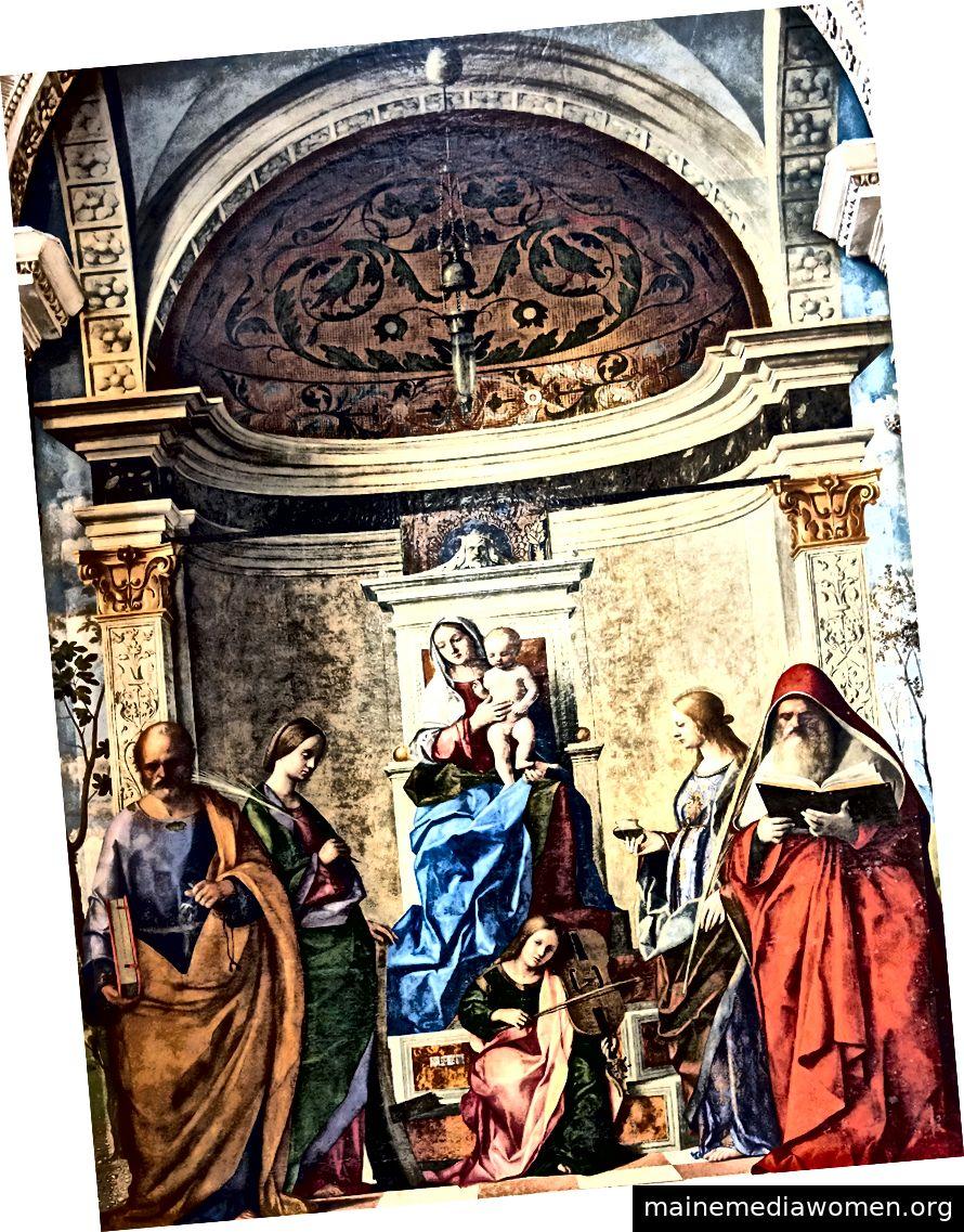 """""""San Zaccaria Altarpiece"""" (1505) von Giovanni Bellini (ca. 1430–1516). Quell-Wikiart"""