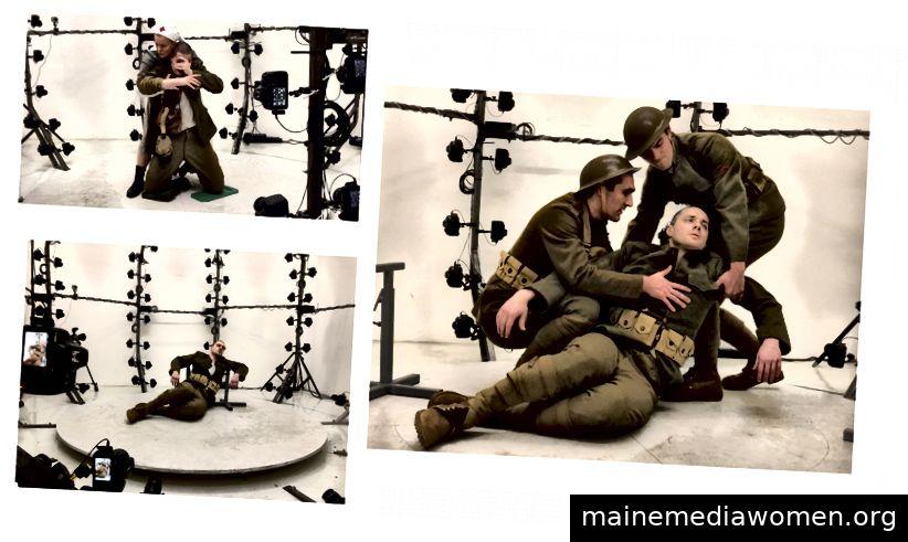 WWI Modelle posieren in der Photogrammetrie-Anlage