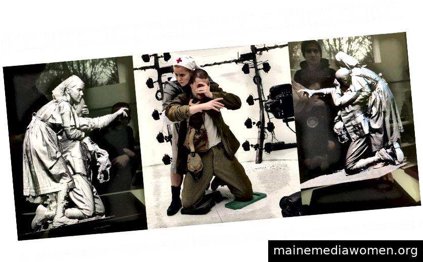 WWI-Modelle Evelyn Christina Tonn und Mark Puchinsky posieren im Rigg und wurden für die Computermanipulation in Z-Bush eingesetzt